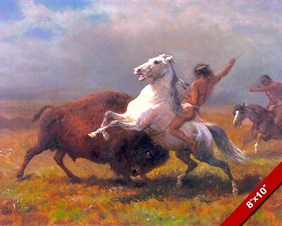 The Last Buffalo Hunting Native American Indians Painting Art Real Canvas Print