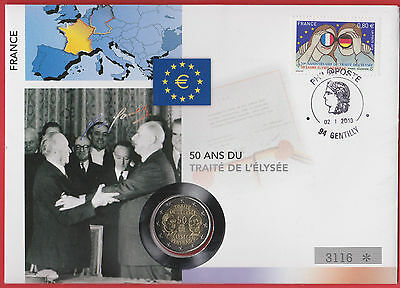 EURO 2€ 2013 50 Years L'Elysée Germany France De Gaulle First Day Cover FDC RARE