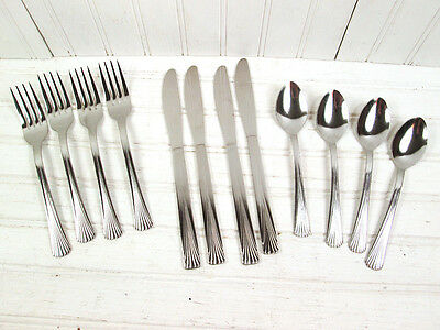 12 Pc Stanley Roberts Rogers Cascade Stainless Flatware Set Lot 4 Place Settings