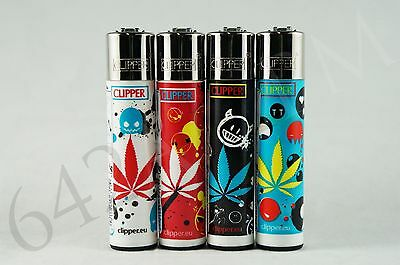4 pcs New Refillable Clipper Full Size Lighters Leaves Collection