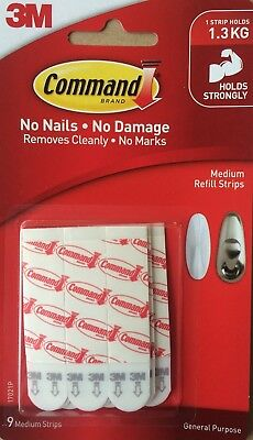 3M Command Medium Refill Strips For Hooks 17021P Picture Frame Hanging Mounting