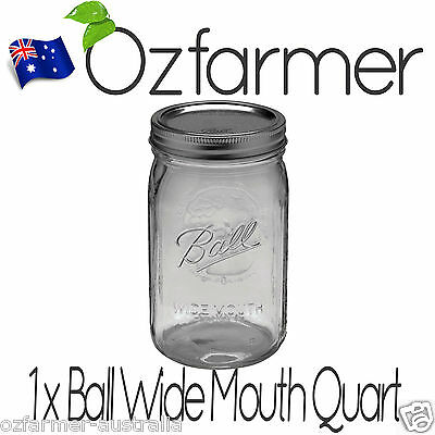 1 x SINGLE 1 Litre Quart Wide Mouth Ball Mason Australia Preserving Jar BPA FREE