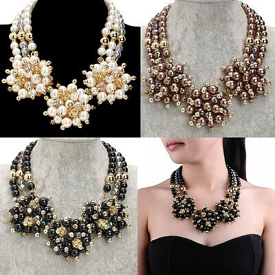 Fashion Charm Faux Pearl Beads Chain Flower Crystal Statement Choker Necklace