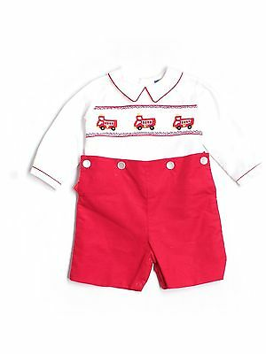 Baby Boy Carriage Boutiques Smocked Fire Truck Red Corduroy Romper Size 6 Month