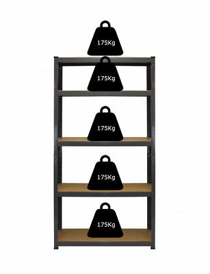 1 Bay Heavy Duty Shelving 5 Tier Garage Workshop Racking Boltless Storage Unit