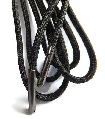 Black EXTRA LONG - METAL TIPPED - STRONG - Hiking / Boot Shoelace 200cm to 500cm