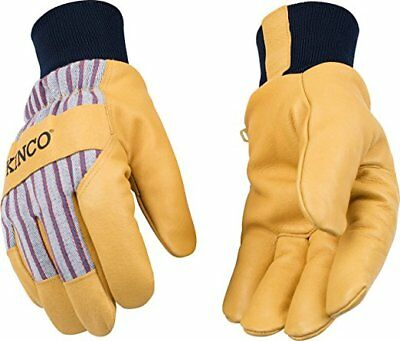Kinco 1927KW Work Gloves LINED GRAIN PIGSKIN LEATHER PALM with KNIT WRIST NWT