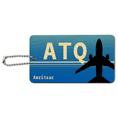 Amritsar India (ATQ) Airport Code Wood ID Tag Luggage Card Suitcase Carry-On