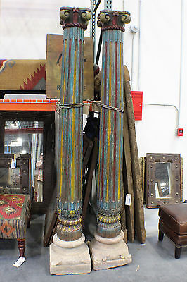"93"" T Antique Wooden Pillar Set Carved Blue Red from India"