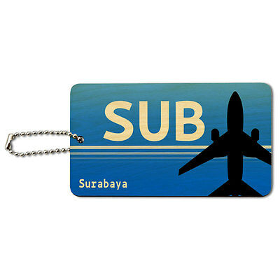 Surabaya Indonesia (SUB) Airport Code Wood ID Tag Luggage Card Suitcase Carry-On