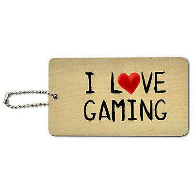 I Love Gaming Written on Paper Wood ID Tag Luggage Card Suitcase Carry-On