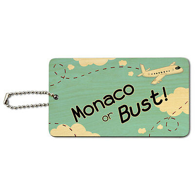 Monaco or Bust - Flying Airplane Wood ID Tag Luggage Card Suitcase Carry-On