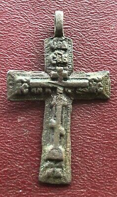 Authentic Antique 18th-19th Century Russian Orthodox Bronze Cross   U3-3