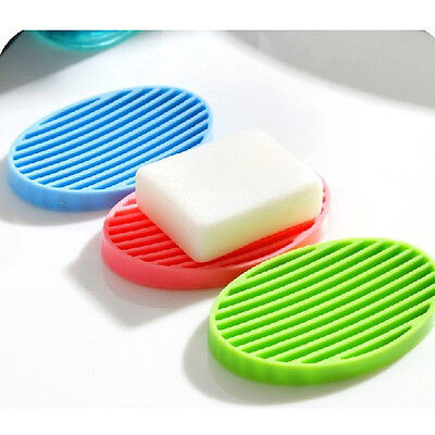 NEW Fashion Silicone Flexible Soap Dish Plate Bathroom Soap Holder