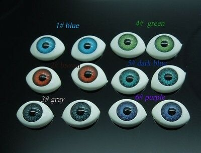 60Pcs(30pairs) Half Oval Doll Bear Craft 6Color mix Plastic Eyes 14.5*10mm E0316