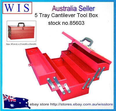 Red Metal Cantilever 5 Tray Tool Box, 48.5 x 28 x 24.4 cm,Lockable Latch-85603