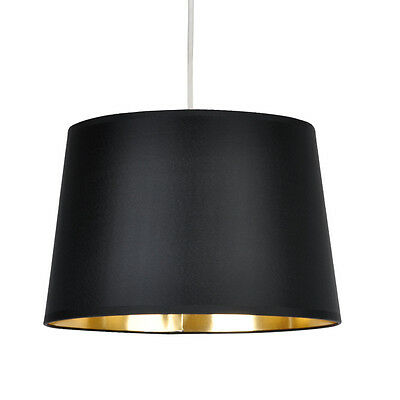 Black Tapered Ceiling Light Pendant Shade Metallic Gold Inner Lampshade Lamp NEW