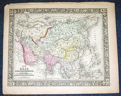 Origial 1860 Mitchell Map of Asia Political Divisions Travel Routes 12.5 X 15.25