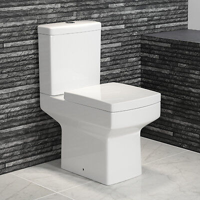 Modern Close Coupled Toilet Designer Square Ceramic White Bathroom WC Pan Seat