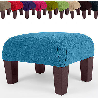 New Footstool Foot Rest Small - Large Pouffe Fabric Stool Black Brown
