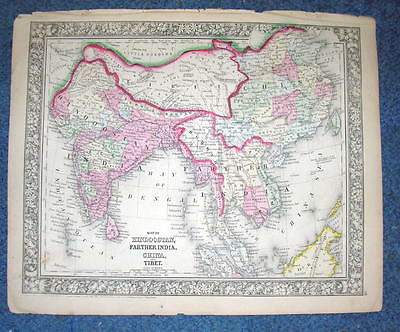 Origial 1860 Mitchell Map of Hindoostan Farther India, China Tibet 12.5 X 15.25