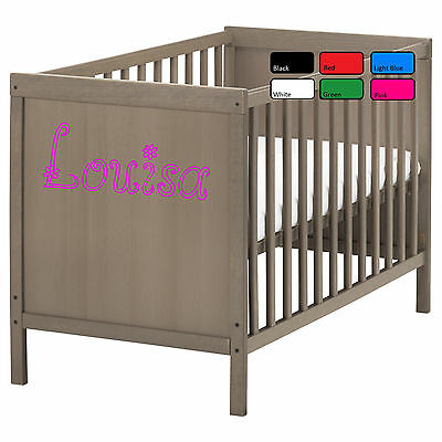 Personalised Baby Name Cot Crib Sticker Art Vinyl Decal For Baby And Kids Room