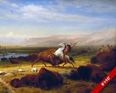 The Last Buffalo Epic Native American Indian Hunt Painting Art Real Canvas Print