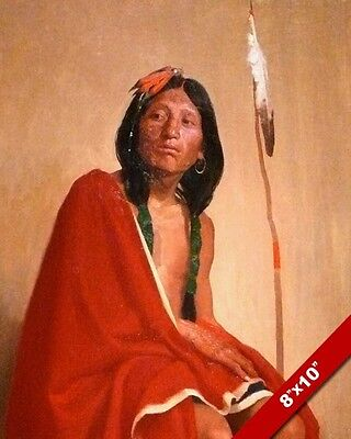 Elk Foot Taos Native American Indian Tribe Painting Art Real Canvas Print