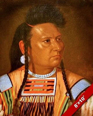 Chief Joseph Native American Indian Portrait Painting Art Real Canvas Print