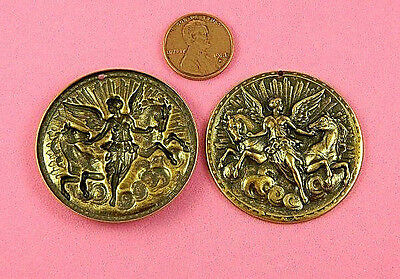 """ANTIQUE BRASS """"ANGELS W/CHARGING HORSES""""-1 PC(s)"""