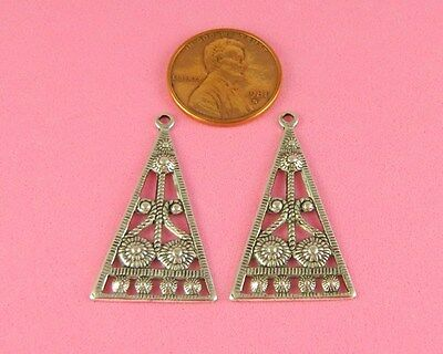 ANTIQUE SILVER PLATED BRASS ART DECO EARRING FINDINGS - 2 PC(s)