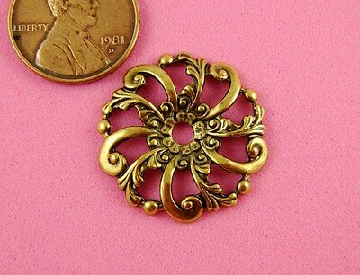 VINTAGE DESIGN ANT BRASS ROUND FILIGREE W/HOLE-2 PC(s)