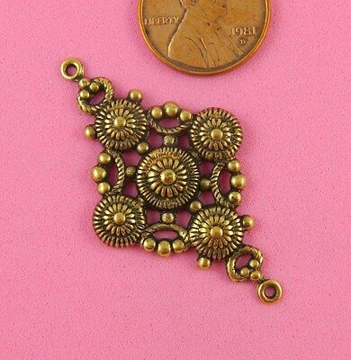 ANT BRASS DIAMOND SHAPED BEADED CONNECTOR-1 PC(s)