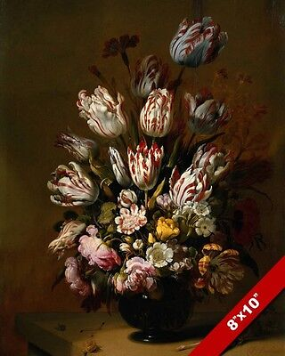 Vase Of Tulips Red & White Striped Flowers Oil Painting Art Real Canvas Print