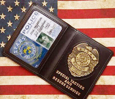 Resident Evil Stars Jill Police Metal Badge With ID Wallet Holder Case-D509