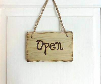 Driftwood Style Open Closed Cafe Shop Restaurant Hotel Business Window Door Sign