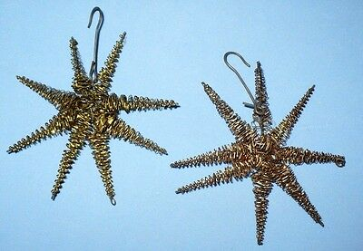 2 ANTIQUE SILVER TWISTED WIRE STARS TREE ORNAMENTS VGC