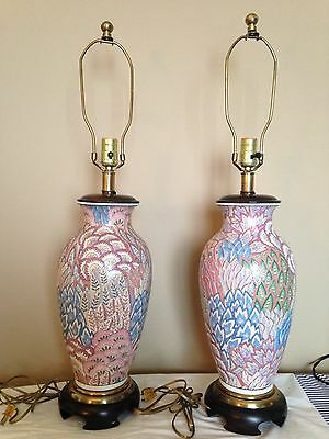 "PAIR VINTAGE  MID CENTURY FREDERICK COOPER CLOISONNE LAMPS 32"" TALL"