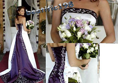 Purple/Ivory Wedding Dress Evening Formal Bridal Prom Party Gown Custom Size