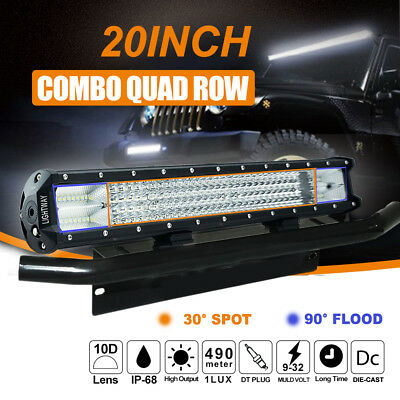20inch Cree Led Work Driving Light Bar Spot Flood Offroad 4WD Truck Plate Frame