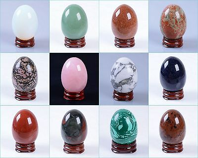 "50mm Gemstone rock crystal healing 2"" eggs shaped carving decor w/ stand"