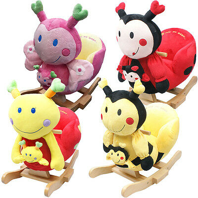 Baby Rocker Rocking Chair Toy toddler Animal Soft Cuddly Musical Babies Support