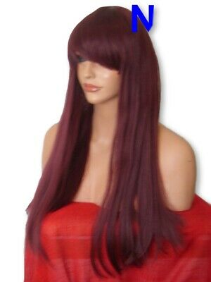 Wine Red Wig Fashion long straight full wig with fringe party Ladies Wig N16