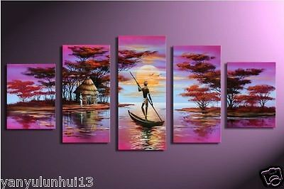 HANDMADE Modern Abstract Huge Oil Painting Canvas Large Art 5P (NO FRAME)
