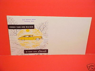1949 LINCOLN HEATER AIR DEFROST MAILER BROCHURE CATALOG
