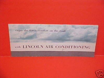 1954 LINCOLN AIR CONDITIONING BROCHURE CATALOG BOOK 54