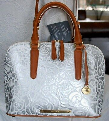 BRAHMIN VIVIAN LYON SILVER WHITE FLORAL EMBOSSED SATCHEL NEW NWT $385 SOLD OUT!