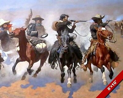 Dash For Timber Cowboys Escape Remington Western Painting Art Real Canvas Print
