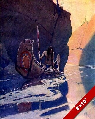 Native American Indian Alone In Canoe Solitude Painting Art Real Canvas Print