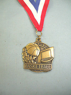 """high relief BASKETBALL 2"""" dia medal gold with red/white/blue neck ribbon"""
